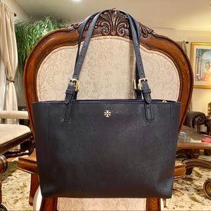 Tory Burch Navy Textured Leather Tote Handbag